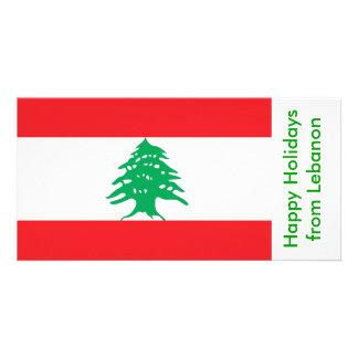 Bandeira de Líbano, boas festas de Líbano Cartão Com Foto