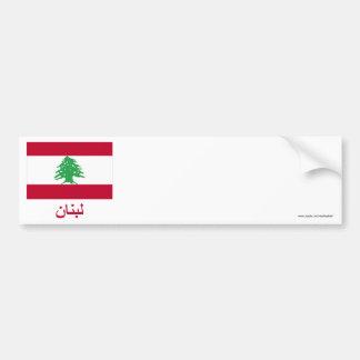 Bandeira de Líbano com nome no árabe Adesivo Para Carro