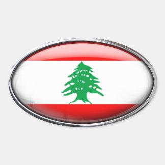 Bandeira de Líbano no Oval de vidro (bloco de 4) Adesivo Oval