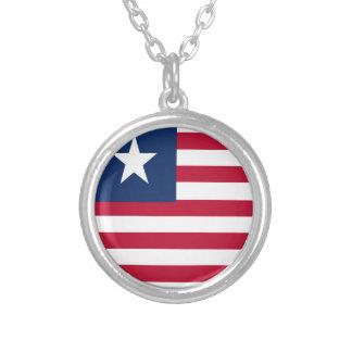 Bandeira de Liberia Colar Banhado A Prata