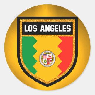 Bandeira de Los Angeles Adesivo Redondo