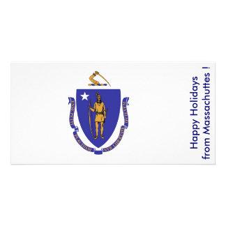 Bandeira de Maassachuttes boas festas dos EUA Cartão Com Foto