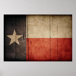 Bandeira de madeira áspera de Texas Pôster