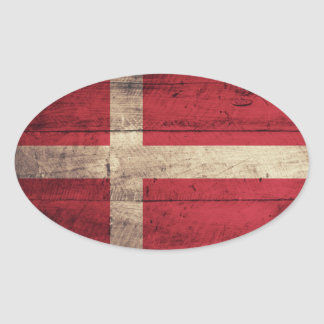 Bandeira de madeira de Dinamarca Adesivo Oval