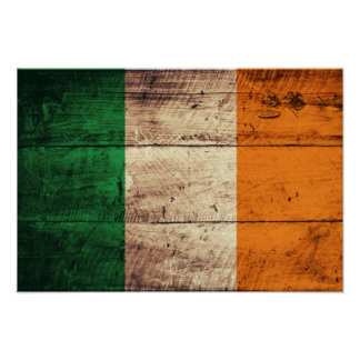 Bandeira de madeira de Ireland Poster