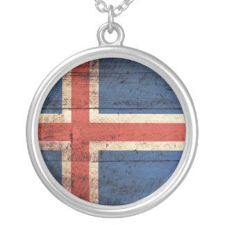 Bandeira de madeira de Islândia Colar Com Pendente Redondo