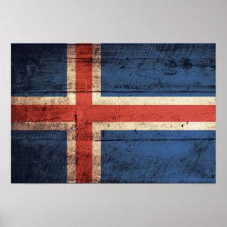 Bandeira de madeira de Islândia Poster