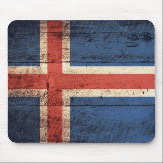 Bandeira de madeira de Islândia Mouse Pads