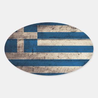 Bandeira de madeira velha da piscina adesivo oval