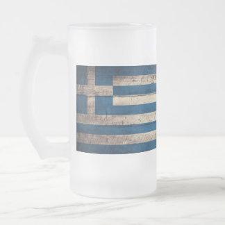 Bandeira de madeira velha da piscina canecas