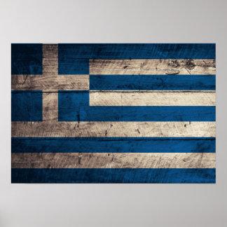 Bandeira de madeira velha da piscina poster