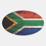 Bandeira de madeira velha de África do Sul Adesivos Em Formato Oval