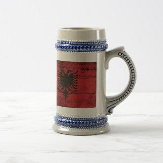 Bandeira de madeira velha de Albânia Caneca