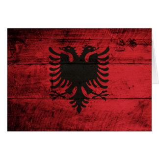 Bandeira de madeira velha de Albânia Cartão De Nota
