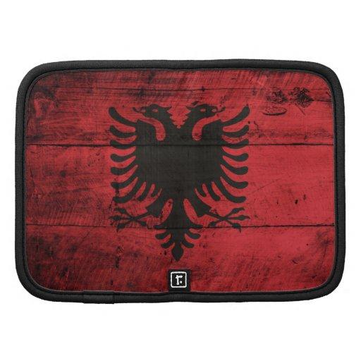 Bandeira de madeira velha de Albânia Organizador