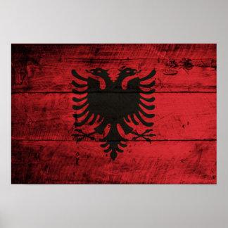 Bandeira de madeira velha de Albânia Pôsteres