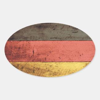 Bandeira de madeira velha de Alemanha Adesivo Oval