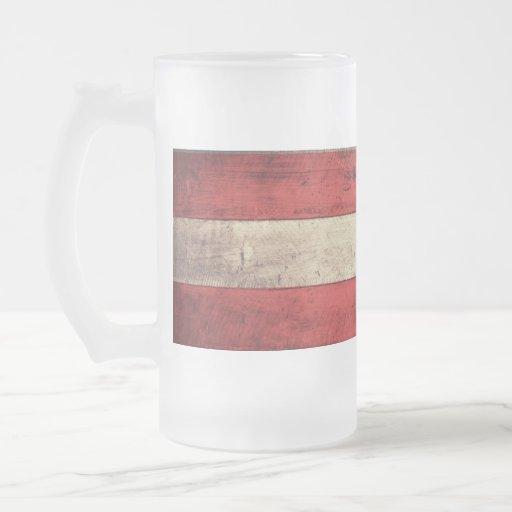 Bandeira de madeira velha de Áustria; Caneca