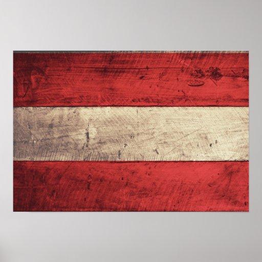 Bandeira de madeira velha de Áustria Pôsteres