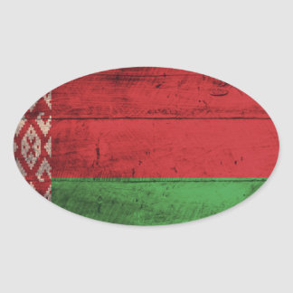 Bandeira de madeira velha de Belarus Adesivo Oval
