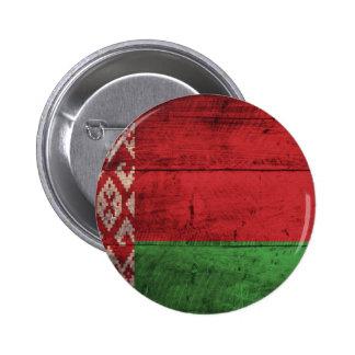 Bandeira de madeira velha de Belarus Botons
