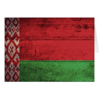 Bandeira de madeira velha de Belarus Cartão De Nota