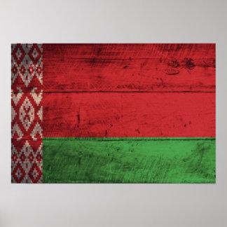 Bandeira de madeira velha de Belarus Pôsteres