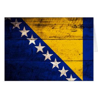 Bandeira de madeira velha de Bósnia Cartão De Nota