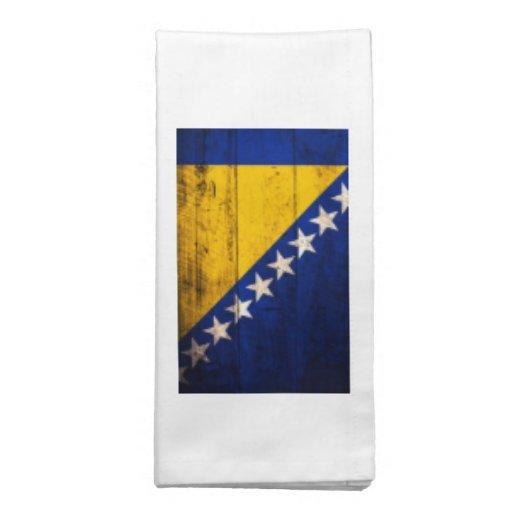 Bandeira de madeira velha de Bósnia Guardanapos Impresso