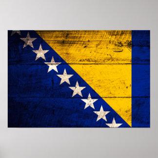 Bandeira de madeira velha de Bósnia Posters