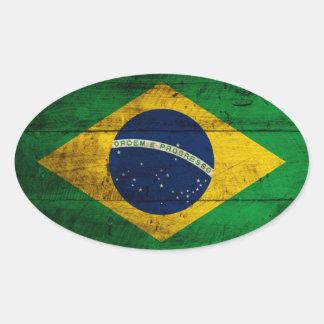 Bandeira de madeira velha de Brasil Adesivo Oval