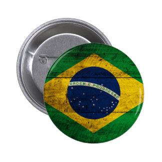 Bandeira de madeira velha de Brasil Botons