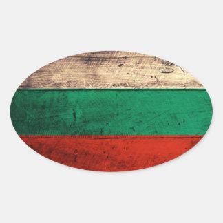 Bandeira de madeira velha de Bulgária Adesivo Oval