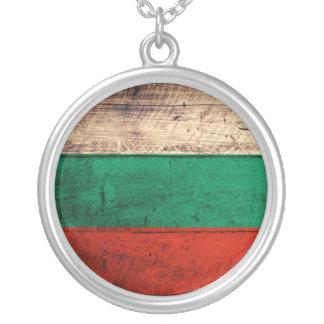 Bandeira de madeira velha de Bulgária Colar Com Pendente Redondo