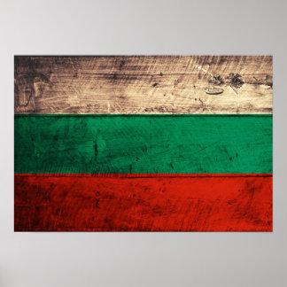 Bandeira de madeira velha de Bulgária Posters
