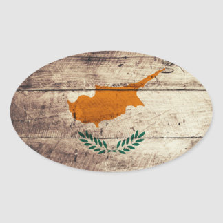 Bandeira de madeira velha de Chipre Adesivo Oval
