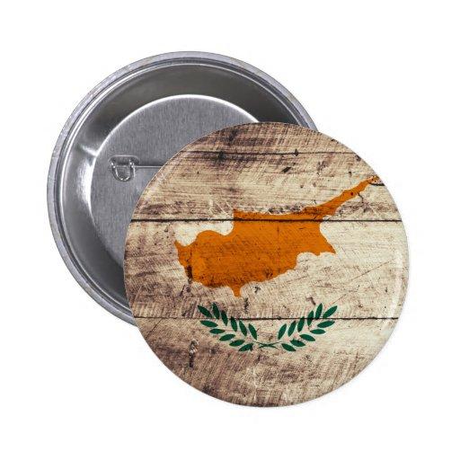 Bandeira de madeira velha de Chipre Boton