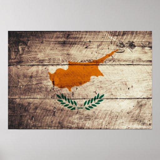Bandeira de madeira velha de Chipre Poster