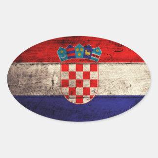 Bandeira de madeira velha de Croatia Adesivo Oval