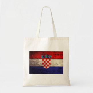 Bandeira de madeira velha de Croatia Bolsa De Lona