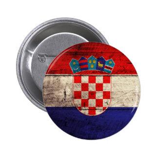 Bandeira de madeira velha de Croatia Pins
