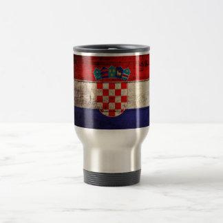 Bandeira de madeira velha de Croatia Canecas