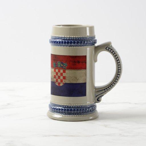 Bandeira de madeira velha de Croatia Caneca