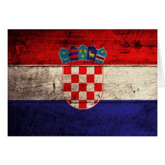 Bandeira de madeira velha de Croatia Cartão De Nota
