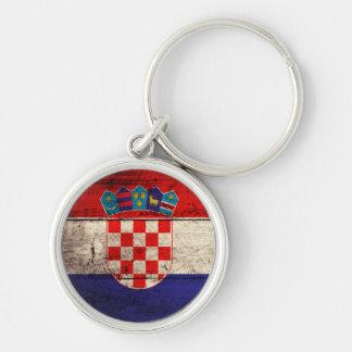 Bandeira de madeira velha de Croatia Chaveiro