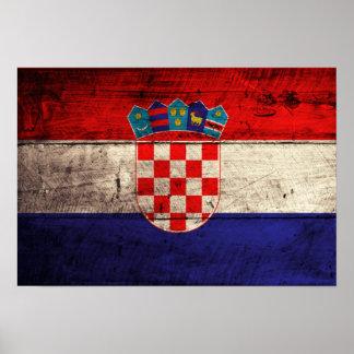 Bandeira de madeira velha de Croatia Poster