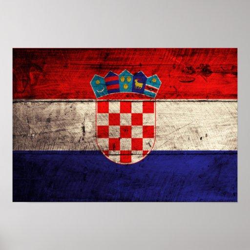 Bandeira de madeira velha de Croatia Posters