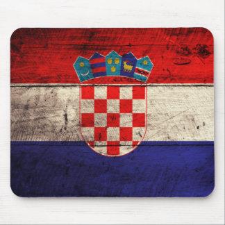 Bandeira de madeira velha de Croatia Mouse Pad