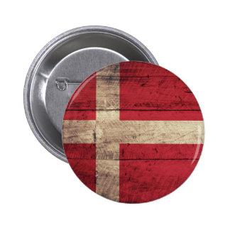 Bandeira de madeira velha de Dinamarca Botons
