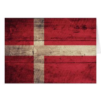 Bandeira de madeira velha de Dinamarca Cartão De Nota